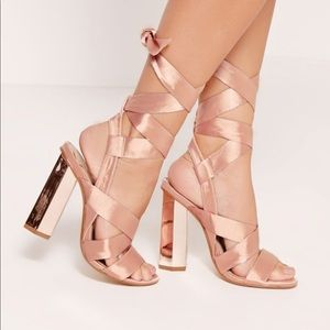 Shoes - Rose Gold satin Strappy Tie Up Heels size 9